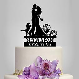 Buythrow Wedding Cake Toppers Bride and Groom Silhouette wit