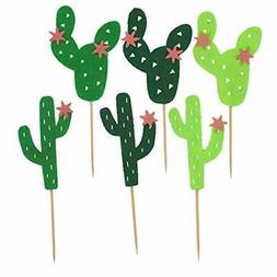 TinaWood 54PCS Cactus Cupcake Toppers for Cake Decorations H