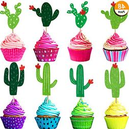Maxdot 48 Pieces Cactus Cupcake Toppers for Cake Decorations
