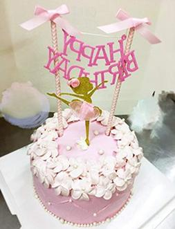 """""""HAPPY BIRTHDAY"""" Cake Bunting Topper with Pink Bows and Stra"""