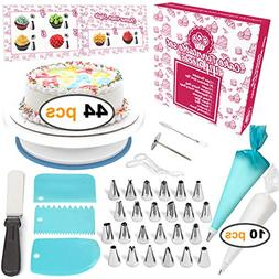 Cakebe 44-Piece Cake Decorating Supplies Kit with Cake Turnt