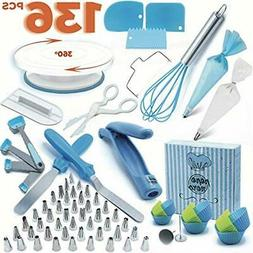 Cake Decorating Supplies Set 136 Pcs by Pepe Nero–Icing Ti