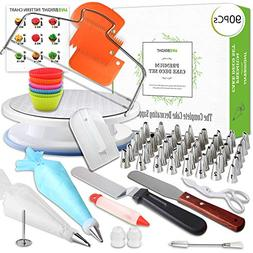 48 Piece Cake Decorating Supplies Set | Turntable Stand | 2