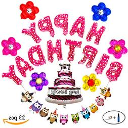 Cake and Flowers Happy Birthday Decorations Kit for Kids Par
