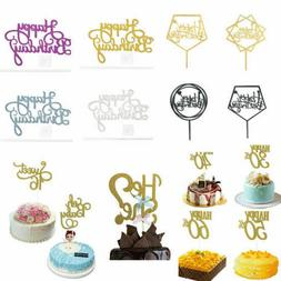 "Cake Topper Card Acrylic ""Happy Birthday"" DIY Party Home Sur"