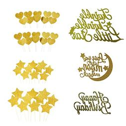 "Cake Toppers Gold glitter letters ""Happy Birthday"" ""Twin"