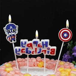 Astra Gourmet Cartoon Captain America Happy Birthday Candles
