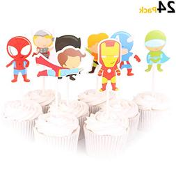 KUDES 24 Pieces Cartoon Superhero Avengers Cupcake Topper Pi
