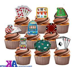 Casino Gambling Poker Cupcake Toppers Cake Decorations Birth
