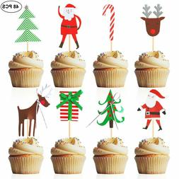 Christmas Cupcake Toppers 48 PCS Cake Decoration Party Cake