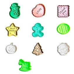 FOR BAKE 10pcs Christmas Themed Cookie Cutter Plunger Cutter