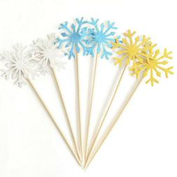 Colorful Cupcake Topper Glitter Snowflower Baby Shower Desse