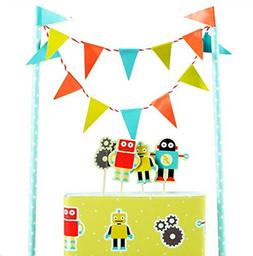 Colorful Funny Cartoon Robot Cake Garland Bunting Flag Tooth