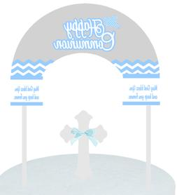 Communion Grey Blue Cake Decoration Banner Topper