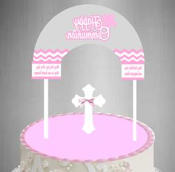 Communion Grey Pink Cake Decoration Banner Topper