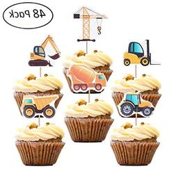 X-group 48 Pack Construction Cupcake Toppers Truck Tractor E