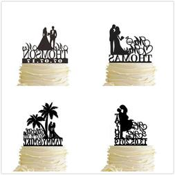Couple Wedding Cake Topper Customized Last Name and Date Eng