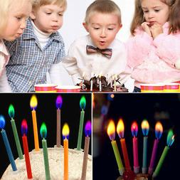 Creative  12pcs Mixed Candles Safe Flames Party Birthday Cak
