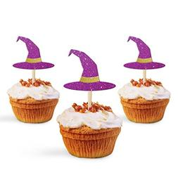 Cup Cake Topper Halloween Decoration Party Witch Hat, Glitte