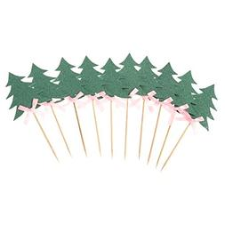 Tinksky 10 PCS Cupcake Topper Decorative Christmas Trees Cup