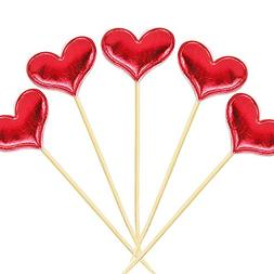 Cupcake Toppers 20Pcs Set Muffin Decoration Red Heart Cupcak