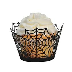 Tinksky 50pcs Halloween Spiderweb Laser Cut Cupcake Wrappers