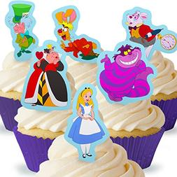 Cakeshop 12 x PRE-CUT Alice in Wonderland Stand Up Edible Ca