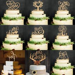 Cut Vintage Wood Cake Topper Bride and Groom Wedding Supplie