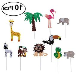 Tinksky 10pcs Cute Cartoon Jungle Animals Cake Toppers Cake