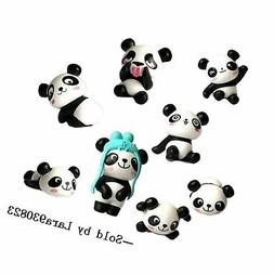8 pcs  Cute Panda Toys Figurines Playset, Cake Decoration