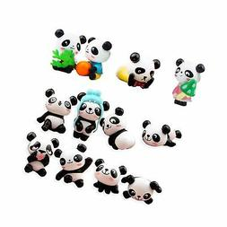 QTFHR 12 pcs  Cute Pandas Toys Figurines Playset, Cake Decor