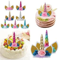 Cute Unicorn Horns Cake Topper Birthday & Baby Shower Party