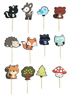 48 PCS Cute Woodland Animal Cupcake Toppers, Fineder Woodlan