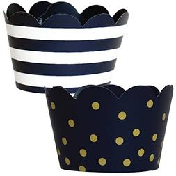 Hanukkah Decorations, 36 Navy Blue and Gold Cupcake Wrappers