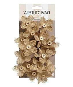 David Tutera Burlap Flower Picks - 4.5 x 3.5 inches - 16 pie