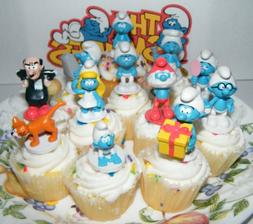 Smurf Deluxe Figure Cake Toppers / Cupcake Party Favor Decor