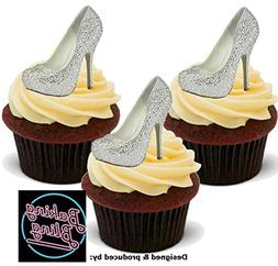 12 x Bling Diamante Silver Shoes - Fun Novelty Birthday PREM