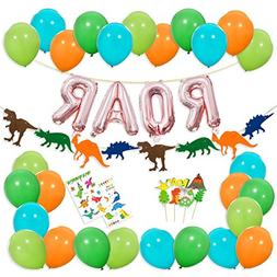 Dinosaur Party Decorations - Rose Gold ROAR Banner Mylar Bal