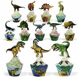 Dinosaur Party Supplies Cupcake Toppers and Wrappers 24 Pack