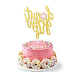 Double Sided Glitter Donut Grow Up Cake Topper Kids Birthday