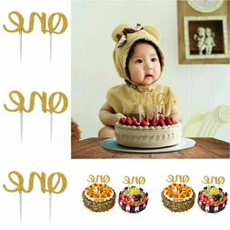 Double Sided Gold Glitter ONE Letter Cake Topper Baby First