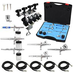 OPHIR 6 PCS Dual-Action Airbrush with 4-Airbrush Holders Set