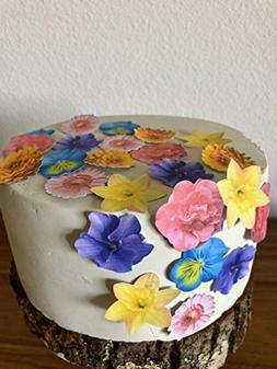 Edible Small Assorted Wafer Flowers Set of 24 -Cupcake Toppe