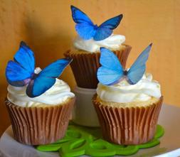 Edible Butterflies © -Large Blue Set of 12 - Cake and Cupca