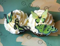 Edible Butterflies © - Small Green Set of 24 - Cake and Cup