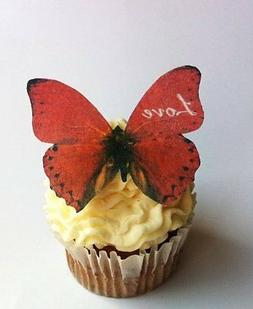 Edible Butterflies © -Red Love Set of 12 - Cake and Cupcake