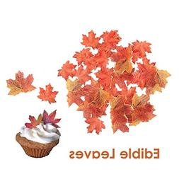 GEORLD Set of 36 Edible Fall Leaves Gold Leaf Cake Decoratio