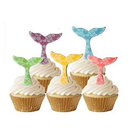 GEORLD Edible Mermaid Tail Cupcake Topper by Wafer Paper,Und