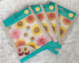 Wilton  Edible Wafer Paper Cake Decorations Flowers 4 pack