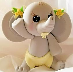 Elephant Cake Topper Gray Yellow For Girls Cake Decoration